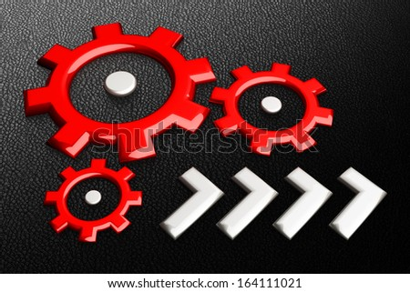 Red gearwheels on black background - stock photo