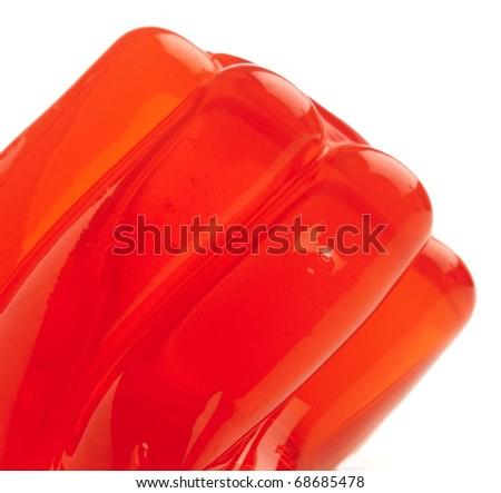 red gelatin closeup on a white background - stock photo