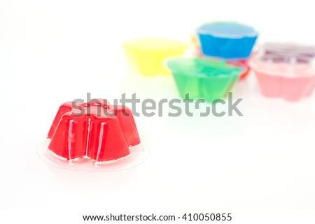red gelatin dessert on white background - stock photo