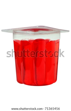 red gelatin glass on a white background - stock photo