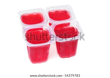 red gelatin glasses on a white background - stock photo
