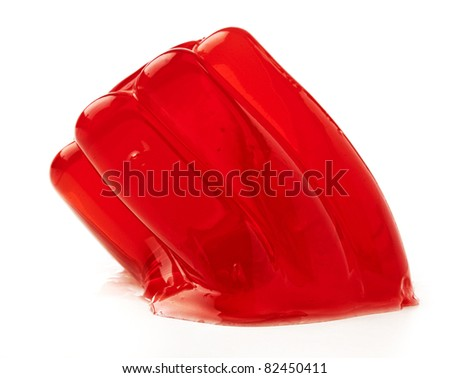 red gelatin isolated on a white background - stock photo