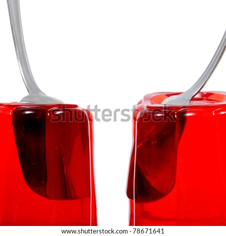 red gelatin on a white background - stock photo