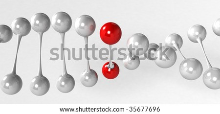 Red gene in DNA 10 - stock photo