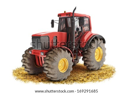 Red generic tractor positioned on a field with a white background - stock photo