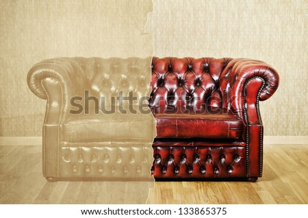 Red Genuine Leather Sofa Near The Wall. Then And Now.