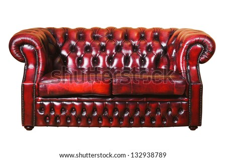 Red Genuine Leather Sofa Over The White BAckground