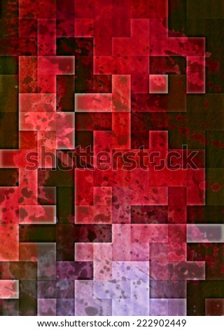 red geometric grunge abstract textured  design - stock photo