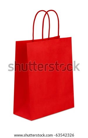 Red gift bag isolated on the white background, clipping path included. - stock photo