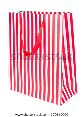 Red gift bag isolated on white background - stock photo