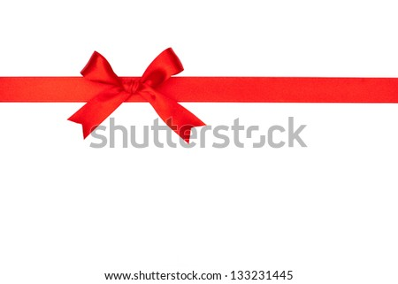 Red gift bow and ribbon on white background - stock photo