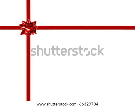 Red gift bow and ribbon on white - off center, rectangular orientation