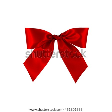 Red gift bow on white background with clipping path. - stock photo