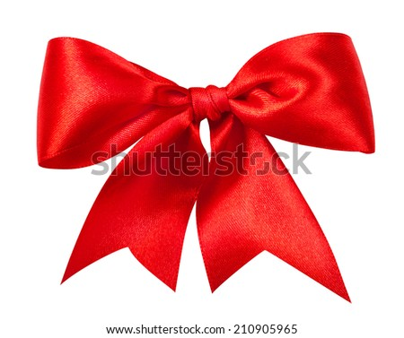 Red gift bow. Ribbon. Isolated on white. Clipping Path - stock photo