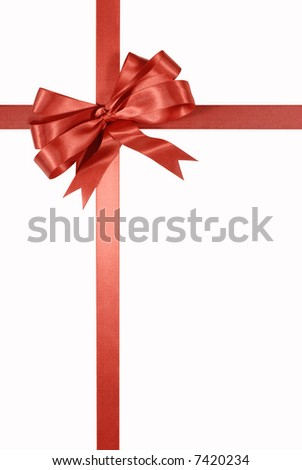 Red gift bow, ribbon, vertical, isolated on white background