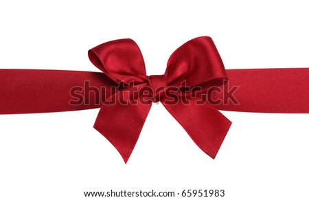Red gift bow with ribbon isolated on the white background,  clipping path included. - stock photo