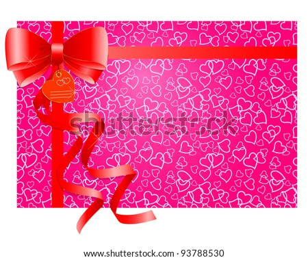 Red gift bow with ribbons on a pink background with hearts. Raster version.