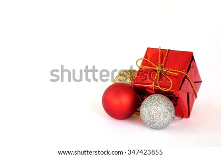 Red gift box and ornaments isolate on white background, christmas, new year and valentine concept