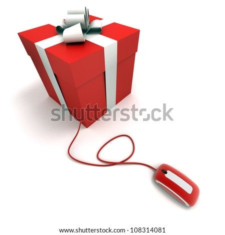 Red Gift box connected to a mouse - stock photo