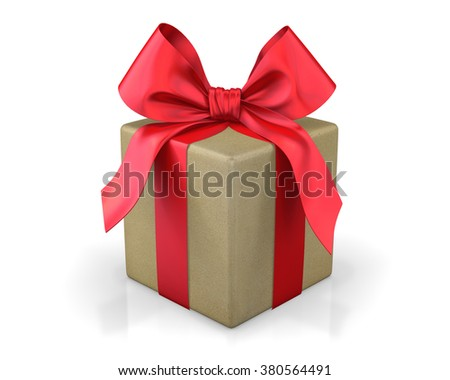 red gift box 3d  render