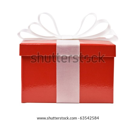 Red gift box decorated with white ribbon bow isolated on white. A gift for Christmas, wedding, birthday and Valentine's day. - stock photo