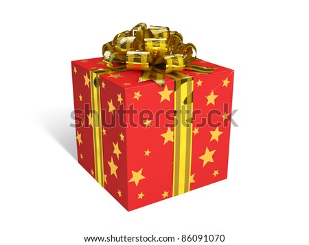 Red gift box. Image contains outline path. - stock photo