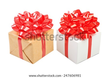 Red gift box in his hands, give, isolated on white background - stock photo