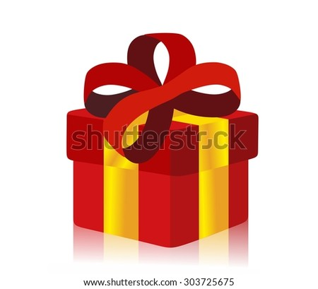red gift box isolated - stock photo