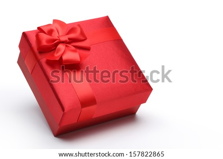 Red gift box isolated on white - stock photo