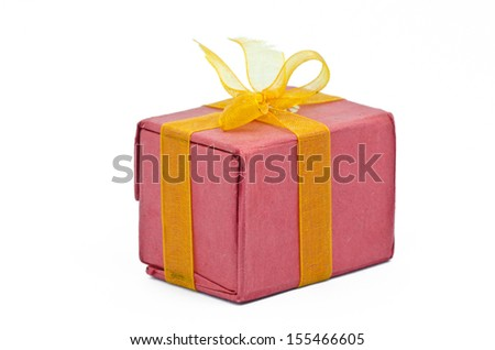 Red Gift box Isolated on white background - stock photo