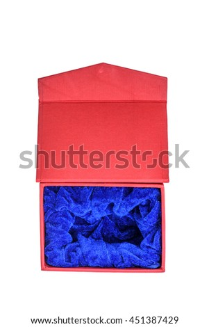 red gift box Isolated on white background, with clipping path - stock photo