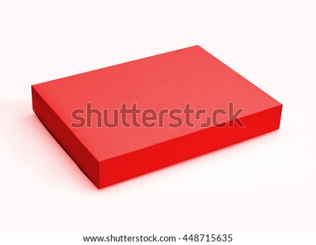 Red gift box isolated on white background with original shadow, with clipping path