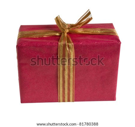 red gift box isolated with clipping path - stock photo