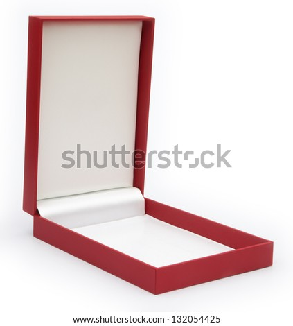 red gift box opened on white background - stock photo