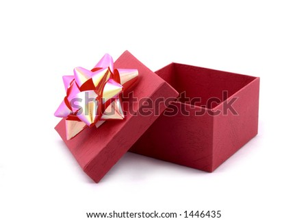 Red Gift Box with Big Ribbon Opened