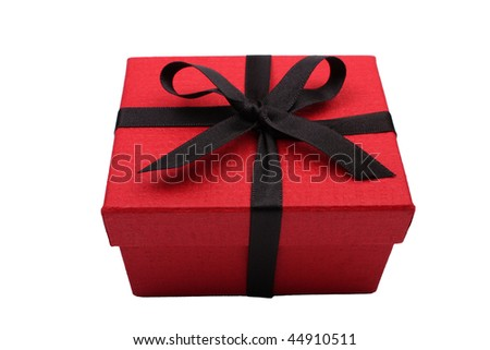Red gift box with black satin  ribbon - stock photo