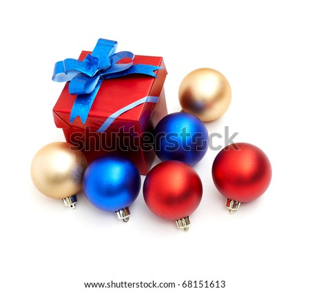 red gift box with blue bow isolated on white