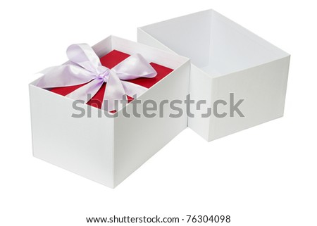 Red gift box with bow ribbon inside open white package - stock photo