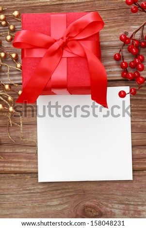 Red Gift Box with Card - stock photo