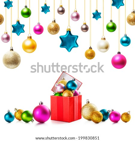 Red gift box with colorful christmas balls and stars collection on white background - stock photo
