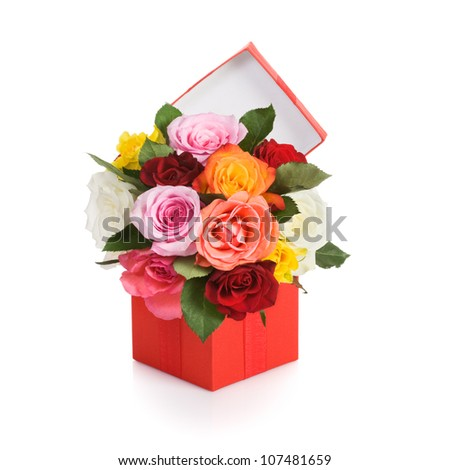 Red gift box with colorful roses on white background - stock photo