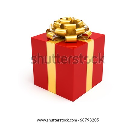 Red gift box with gold ribbon and bow - stock photo
