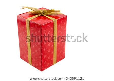 Red gift box with gold ribbon isolated on white background - stock photo
