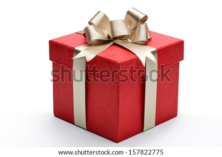 Red gift box with golden ribbon and bow - stock photo