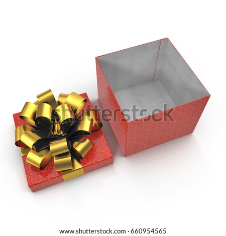 Red gift-box with golden ribbon bow on white. 3D illustration, clipping path