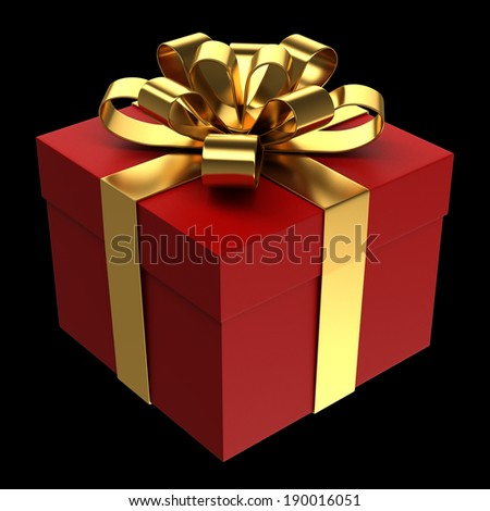 Red gift box with golden ribbon, Isolated on black - stock photo