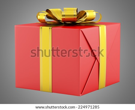 red gift box with golden ribbon isolated on gray background - stock photo