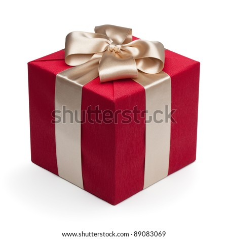 Red gift box with golden ribbon, isolated on the white background, clipping path included. - stock photo