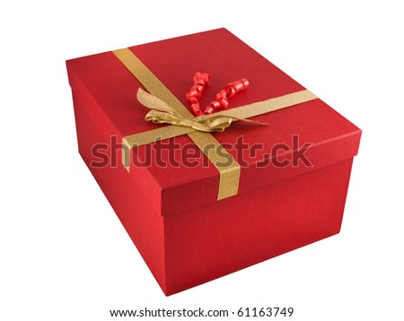 red gift box with golden ribbon isolated on white