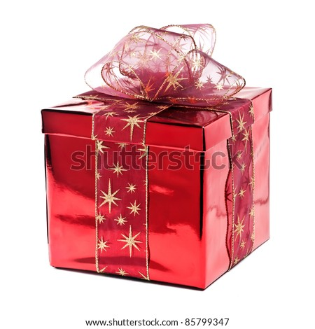 Red gift box with golden stars - stock photo